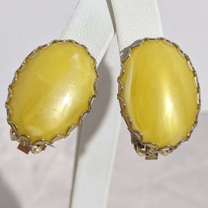 Vintage Yellow & White Gold Clip Earrings